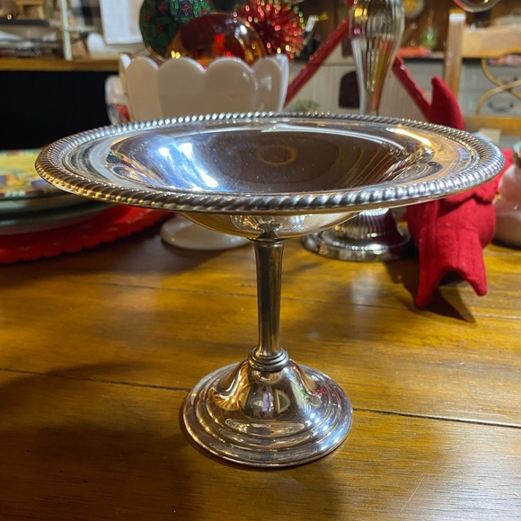 Vintage silver plate pedestal compote candy dish